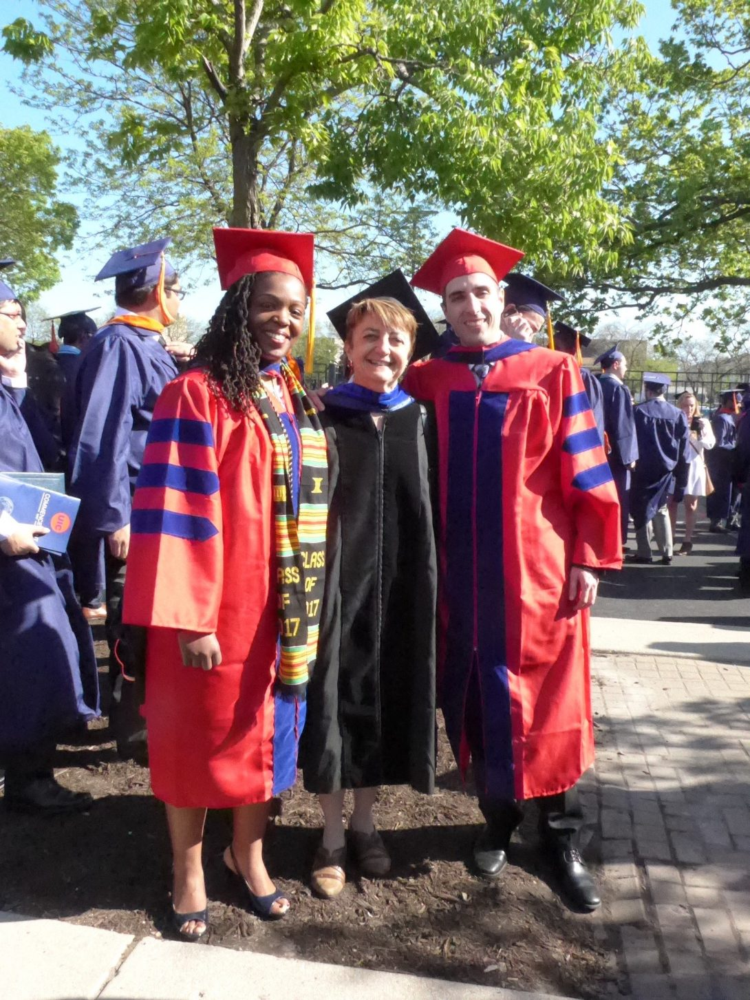 Rachel Harsley, Professor Barbara Di Eugenio, and Nick Green at graduation