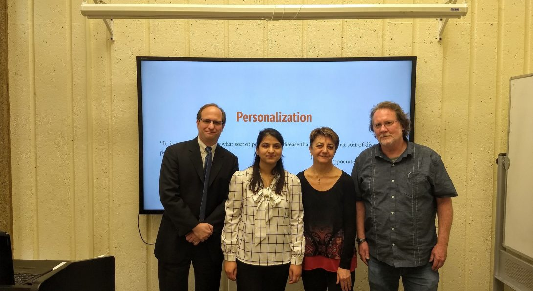 Sabita Acharya with three of her committee members: Barbara Di Eugenio, Andrew Boyd, and Richard Cameron