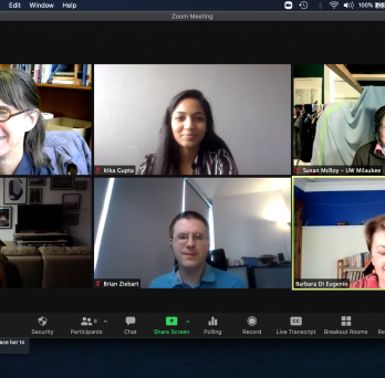 Screenshot of Itika's virtual defense on Zoom, showing Itika and her five committee members